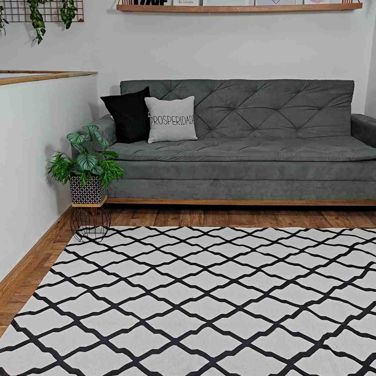 Tapete Geometrico para Sala Dalla Preto e Branco - 250x132