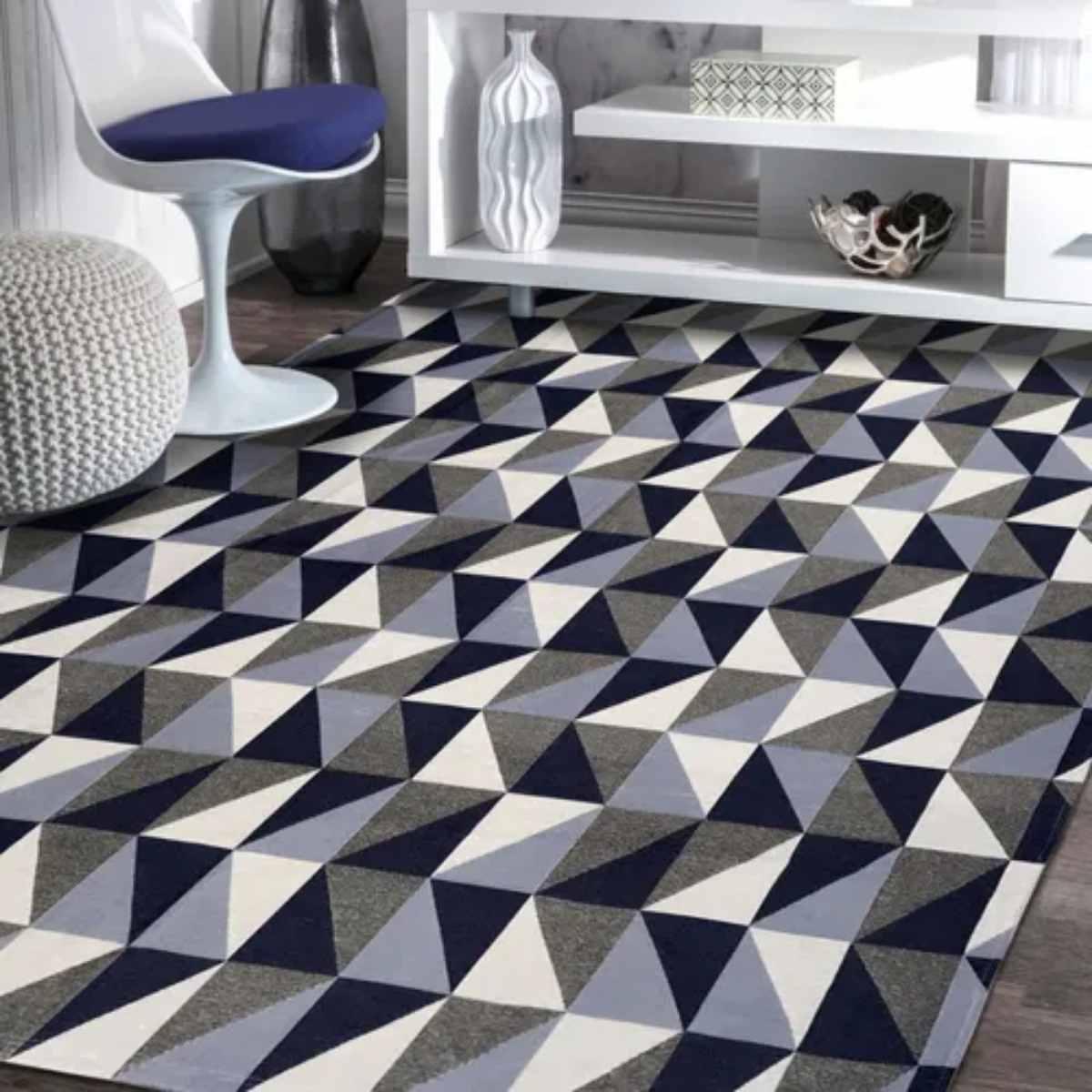 Tapete Geometrico para Sala Dubai Azul - 250x132