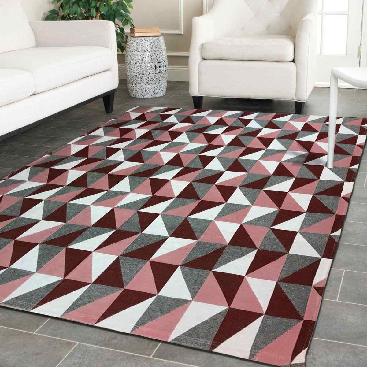 Tapete Geometrico para Sala Dubai Vermelho - 250x132