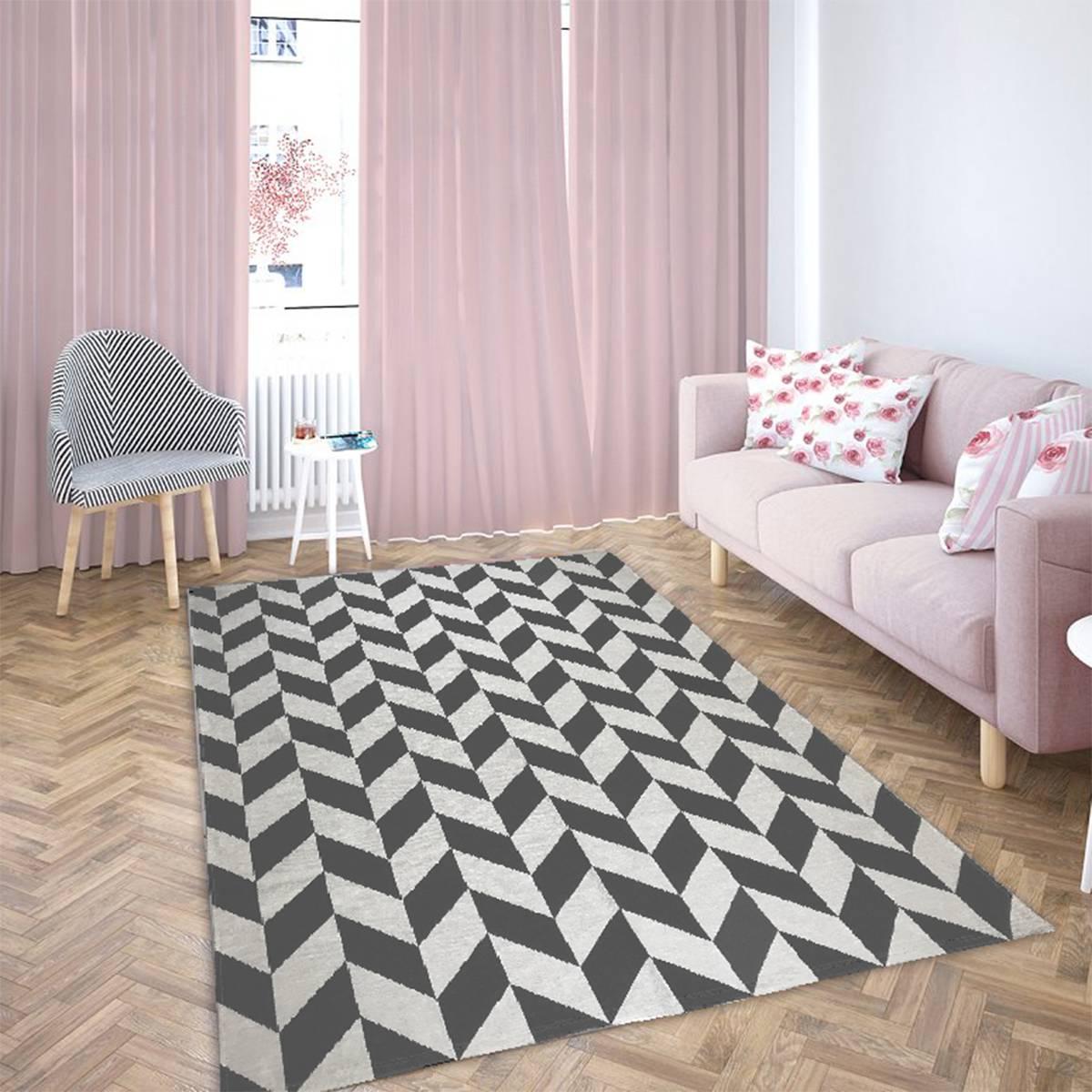 Tapete Geometrico para Sala Turim Cru com Cinza - 250x132