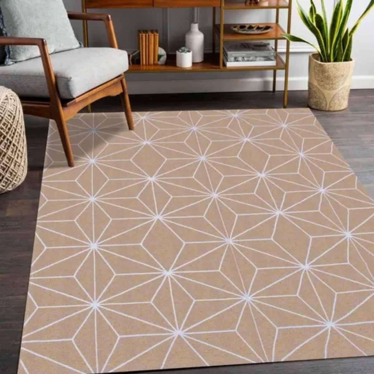 Tapete Geometrico para Sala Star Areia - 200x132