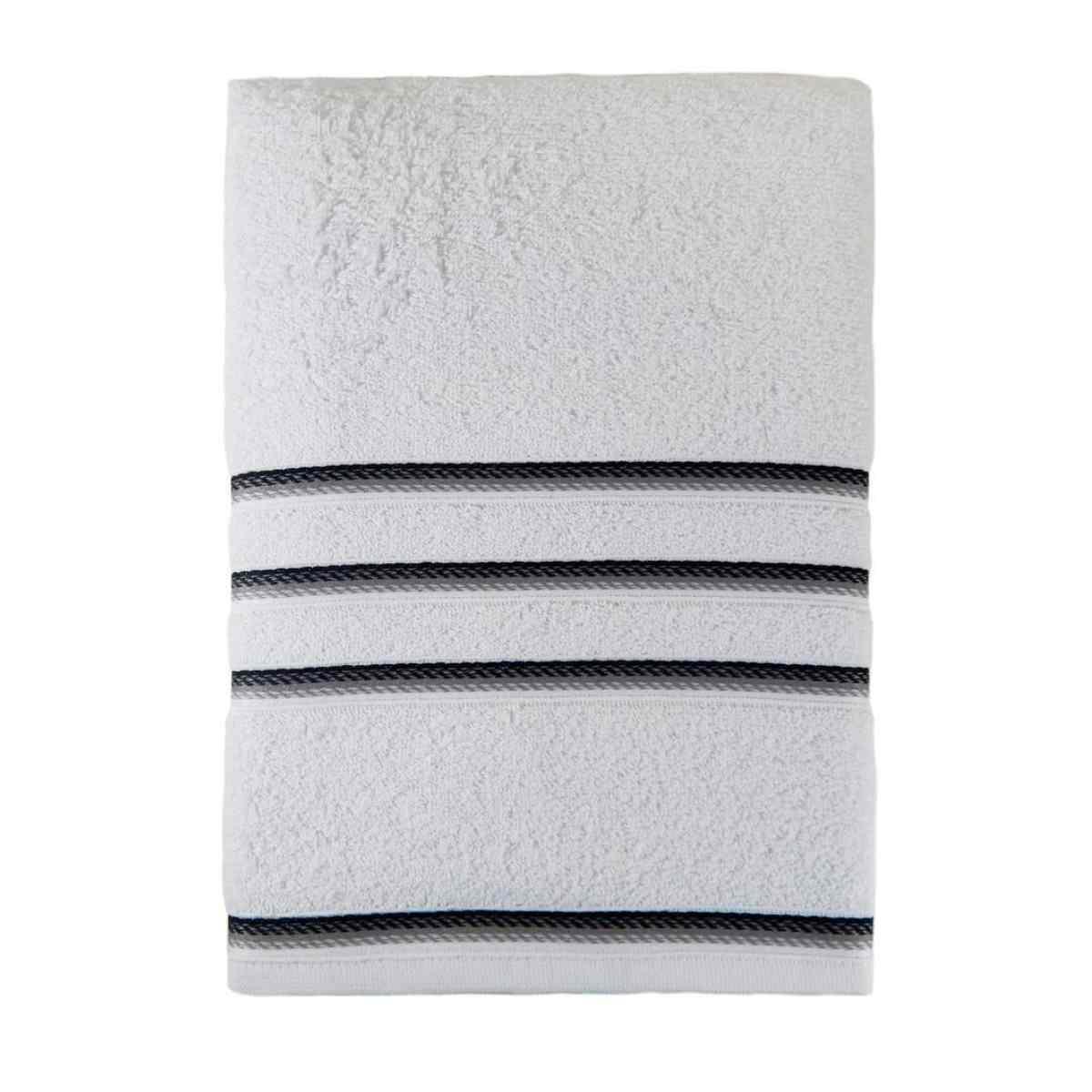 Toalha banho classic 68x135 Branco Com Preto
