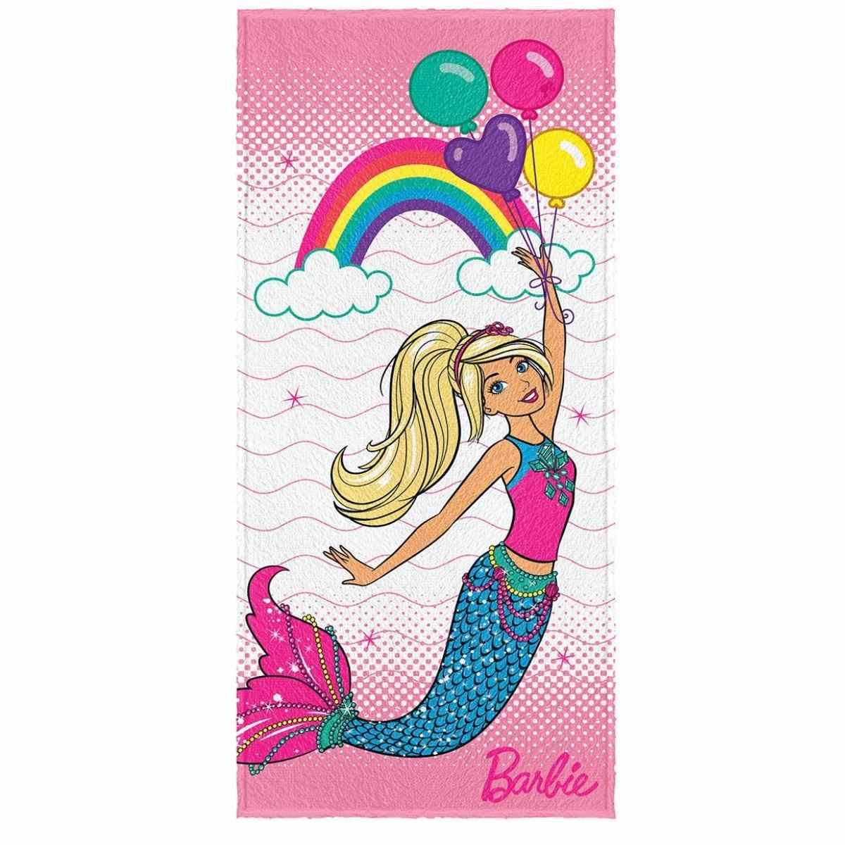 Toalha banho infantil felpuda 60x120  Barbie Est 3