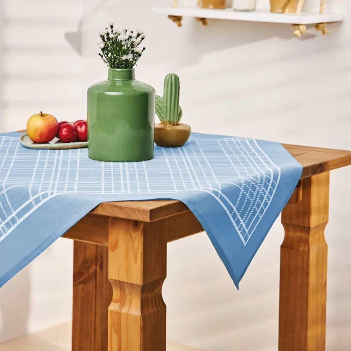 Toalha mesa est 75x75 Xadrez Azul