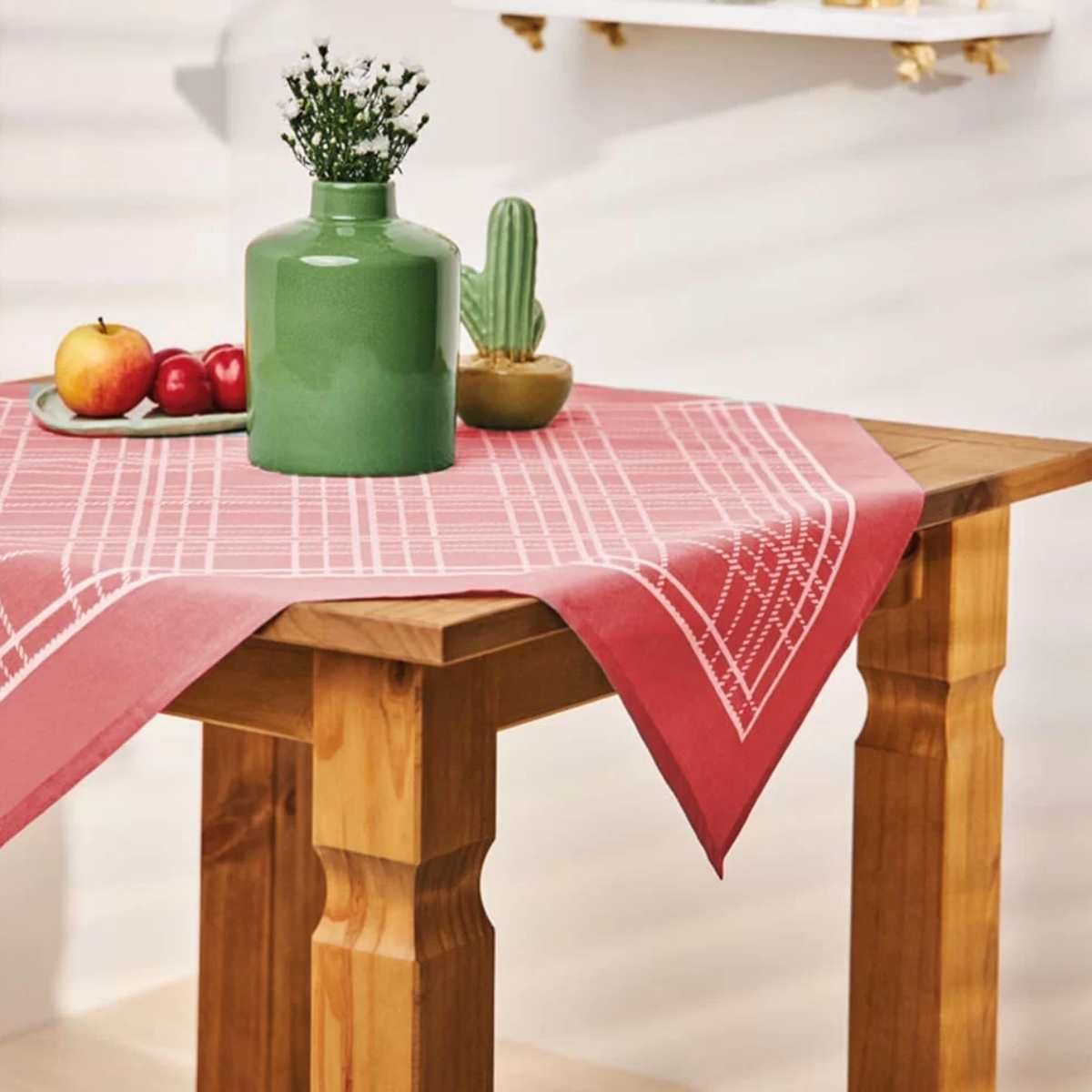 Toalha mesa est 75x75 Xadrez Vermelho