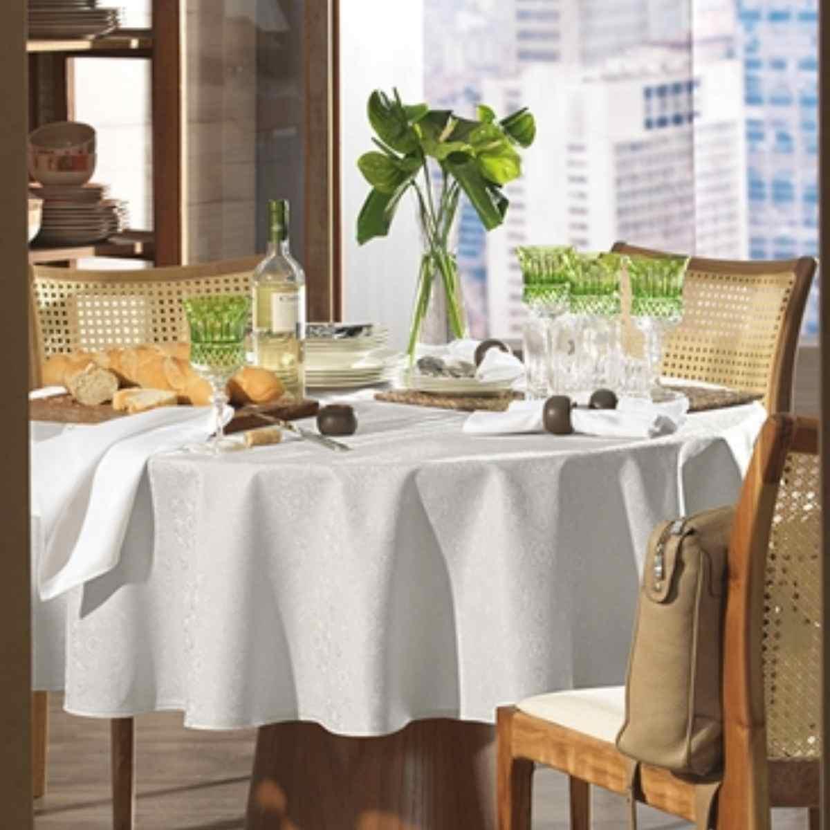 Toalha mesa sempre limpa jacquard  178rd Faenza Branco