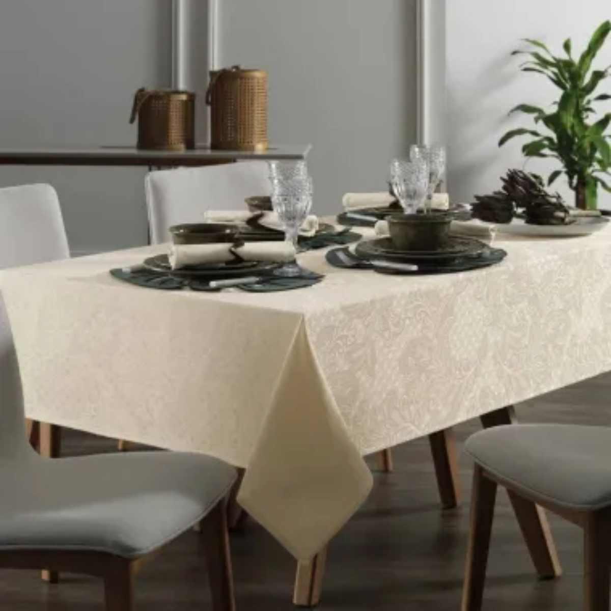 Toalha mesa sempre limpa jacquard  178rd Mendi Natural