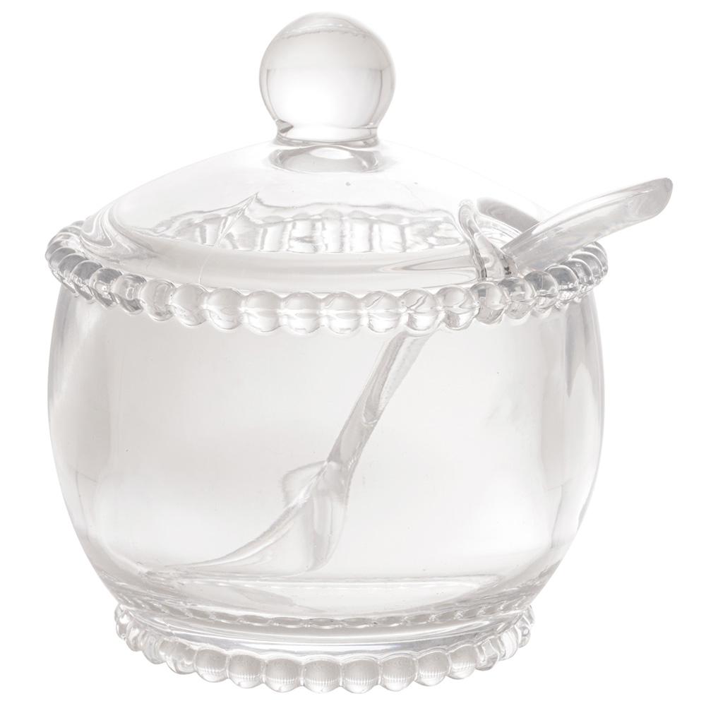 Açucareiro com Colher 01 Peça Pearl Cristal 10 x 8 x 7 cm Wolff