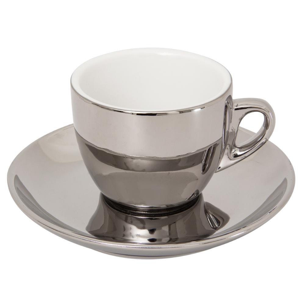 Conjunto de Xícaras 06 Peças de Chá em Porcelana Versa Prata Wolf