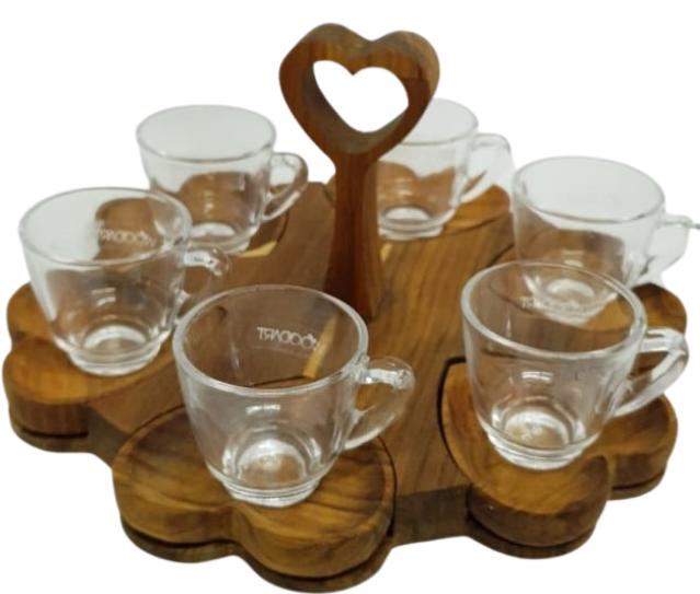 Conjunto de Xícaras Café 06 peças em Vidro com Pires Coração e Suporte em Madeira Teca Woodart