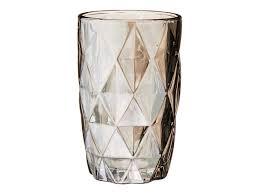 Copo Vidro Diamond 01 Peça Cinza Metalizado