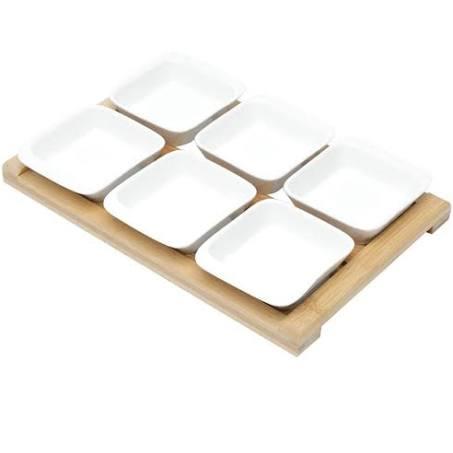Jogo Petisqueiras 6 Peças Porcelana com Tábua Bambu 31 x 20 x 5,5 cm Bon Gourmet