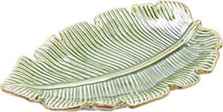 Petisqueira 01 Peça Folha Ceramica Funda Banana Leaf