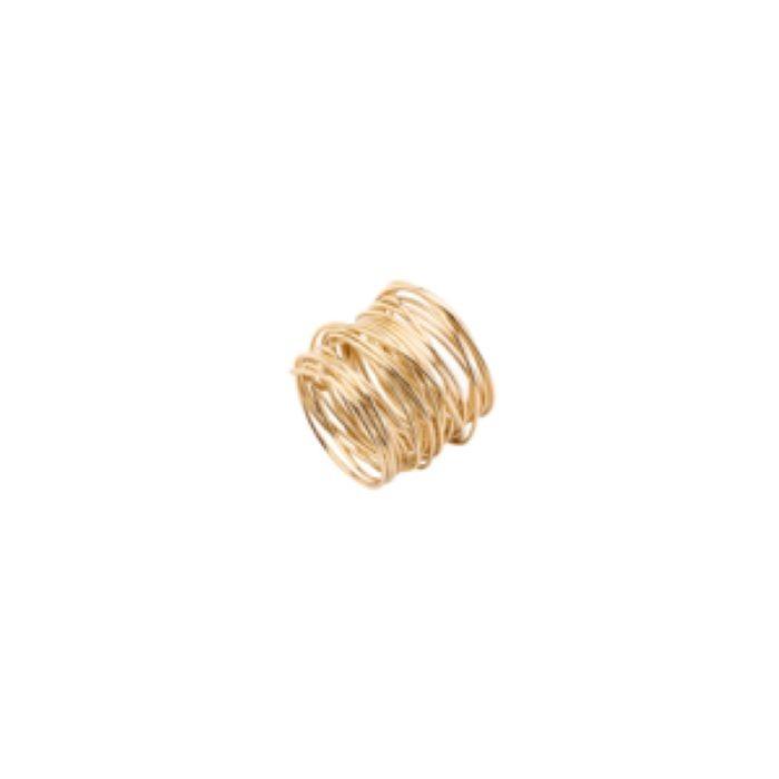 Porta Guardanapo 01 Peça Aço Espiral Dourado Lyor