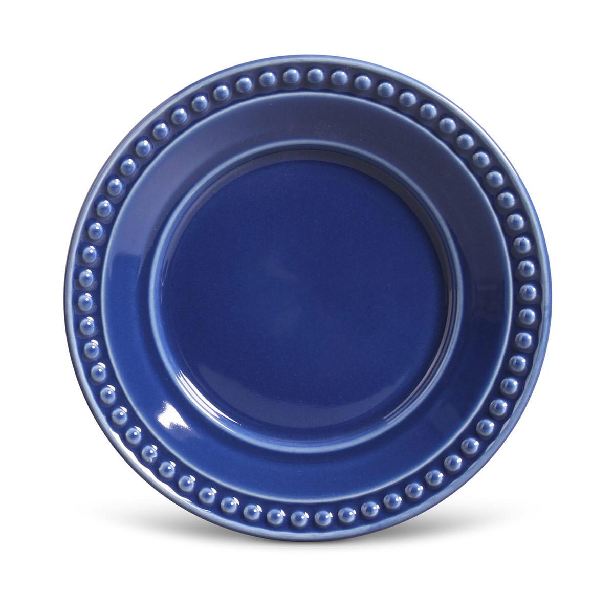 Prato de Sobremesa 01 Peça Atenas Azul Navy 20,5 cm Porto Brasil