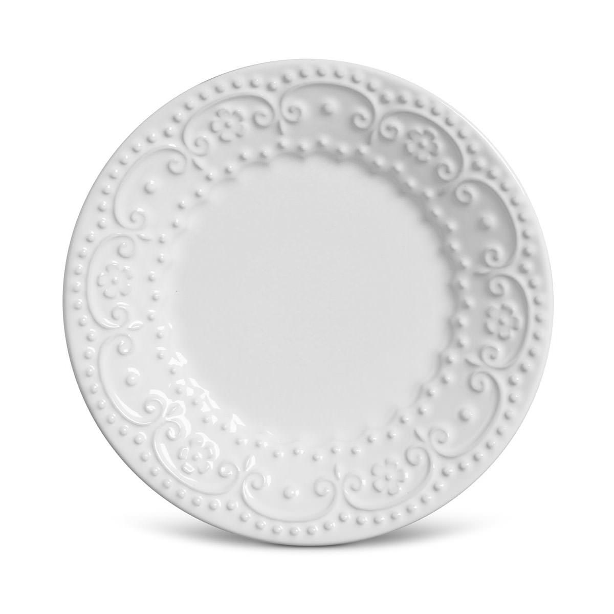 Prato de Sobremesa 01 Peça Esparta Branco 20,5 cm Porto Brasil