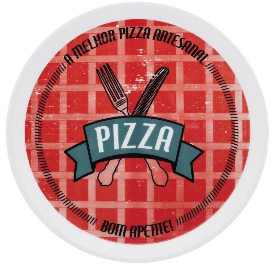 Prato para Pizza em Porcelana 01 Peça Bom Apetite Oxford