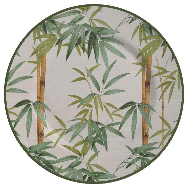 Prato Raso 01 Peça Decorado Bambu Alleanza