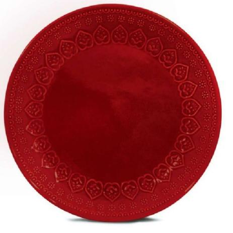 Prato Raso 01 Peça Relieve Vermelho 26,5 cm Corona