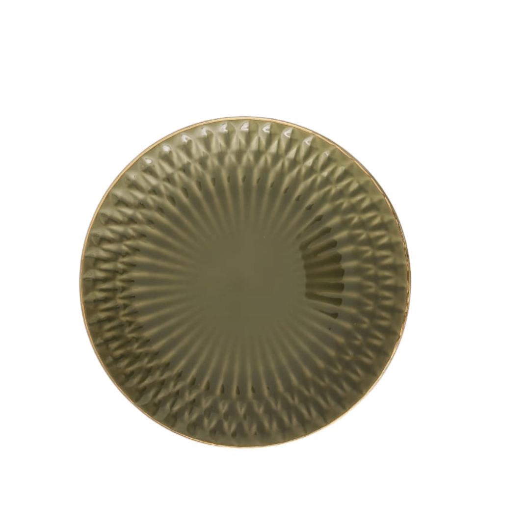 Prato Raso 01 Peça Verde Escama Filete Ouro 27cm