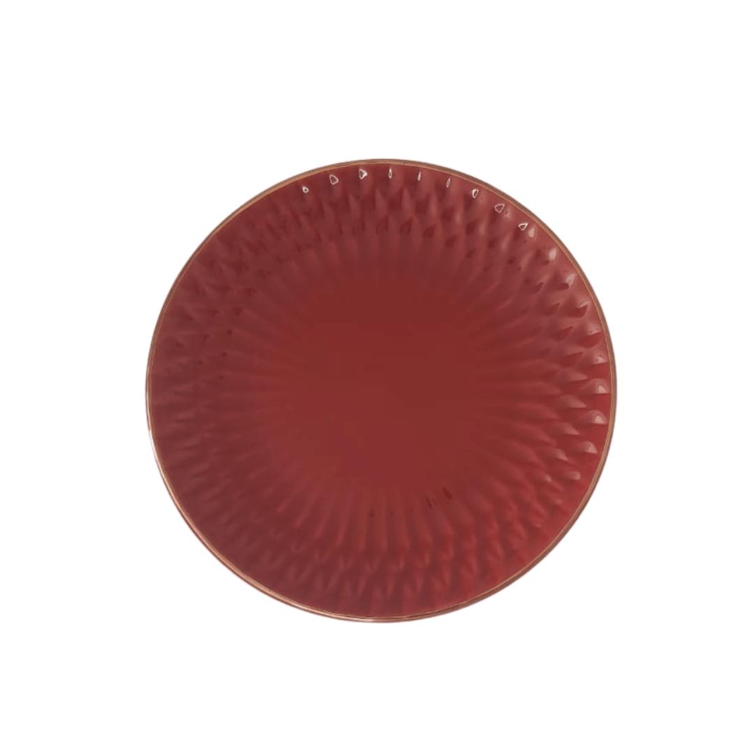 Prato Raso 01 Peça Vermelho Escama Filete Ouro 27cm