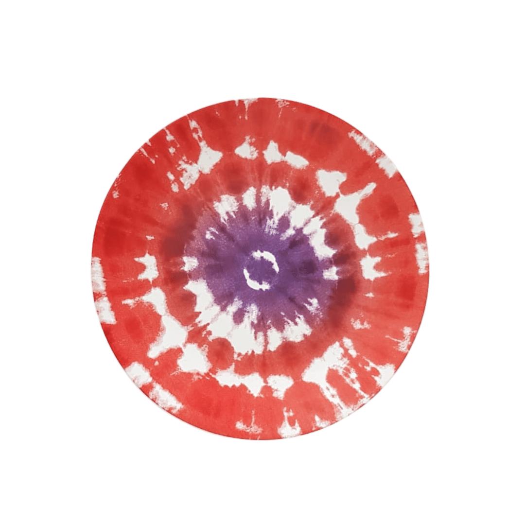 Prato Raso 01 Peça Vermelho Tie Dye 27cm