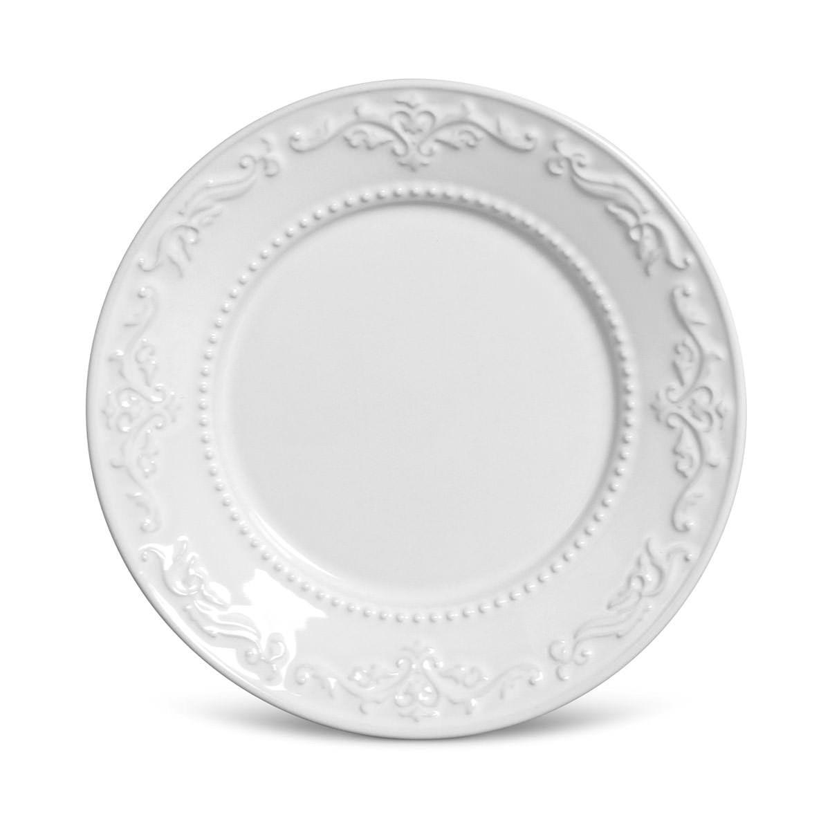 Prato Sobremesa 01 Peça Acanthus Branco 20,5 cm Porto Brasil