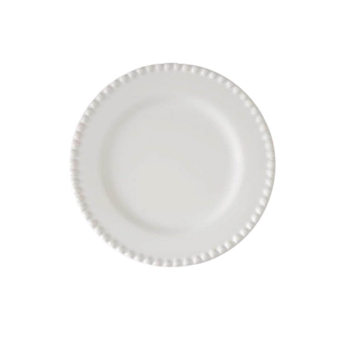 Prato Sobremesa 01 Peça Branco Bolinha 20cm