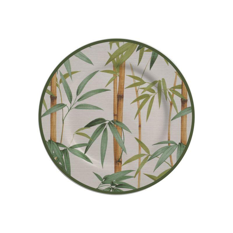 Prato Sobremesa 01 Peça Decorado Bambu Alleanza