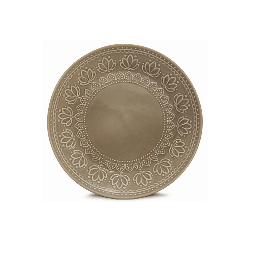 Prato Sobremesa 01 Peça Relieve Cinza 20,5 cm Corona