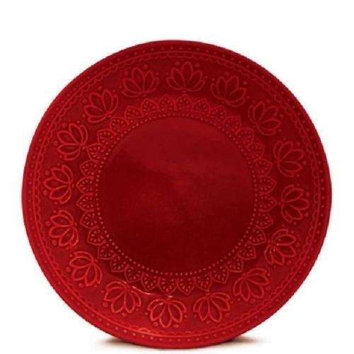 Prato Sobremesa 01 Peça Relieve Vermelho 20,5 cm Corona