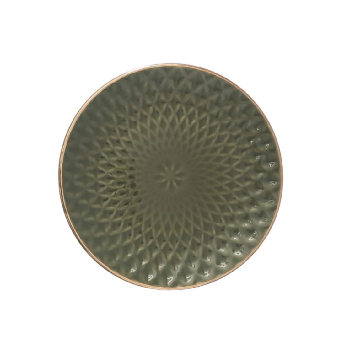 Prato Sobremesa 01 Peça Verde Escama Filete Ouro 20cm