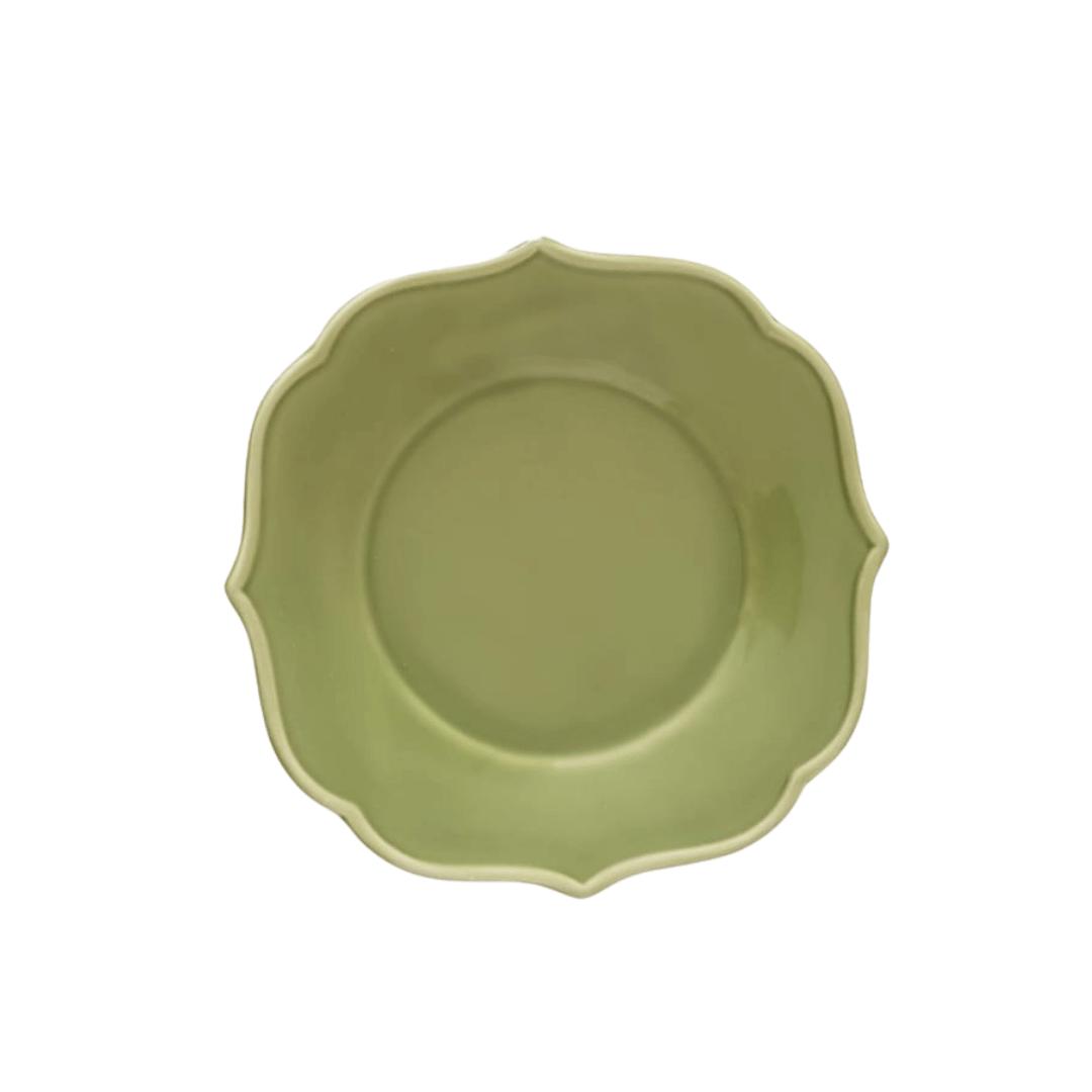 Prato Sobremesa 01 Peça Verde Estonado 22cm
