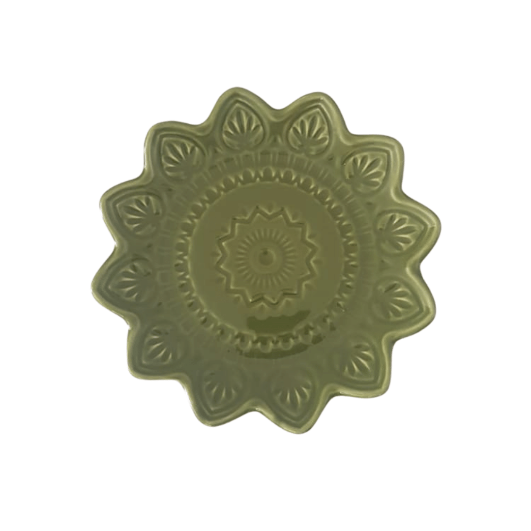 Prato Sobremesa 01 Peça Verde Mandala 22cm
