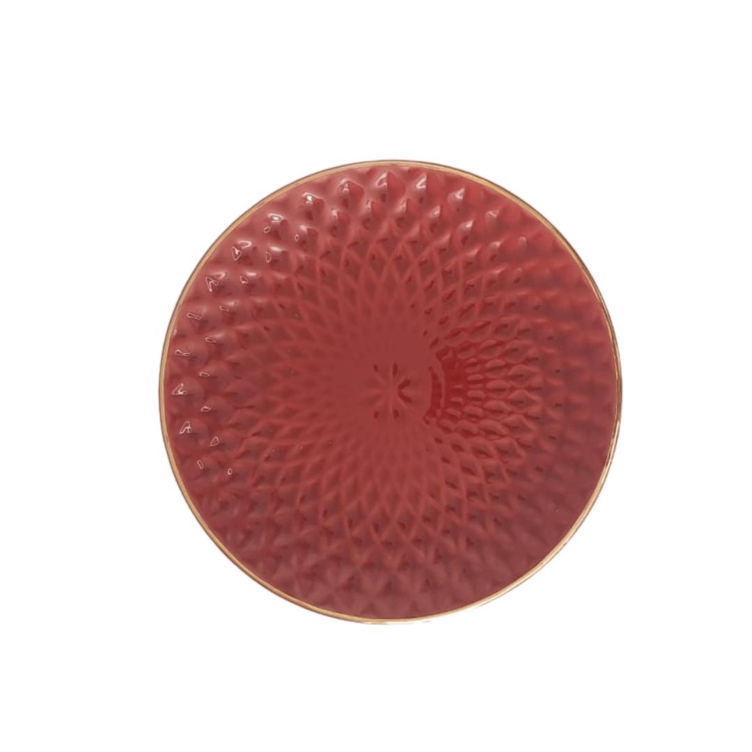 Prato Sobremesa 01 Peça Vermelho Escama Filete Ouro 20cm
