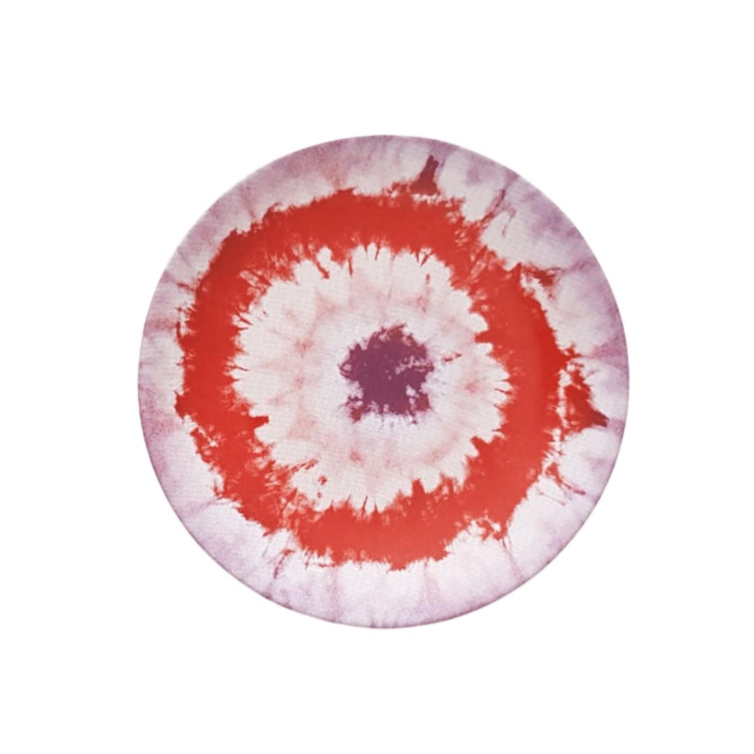 Prato Sobremesa 01 Peça Vermelho Tie Dye 20cm
