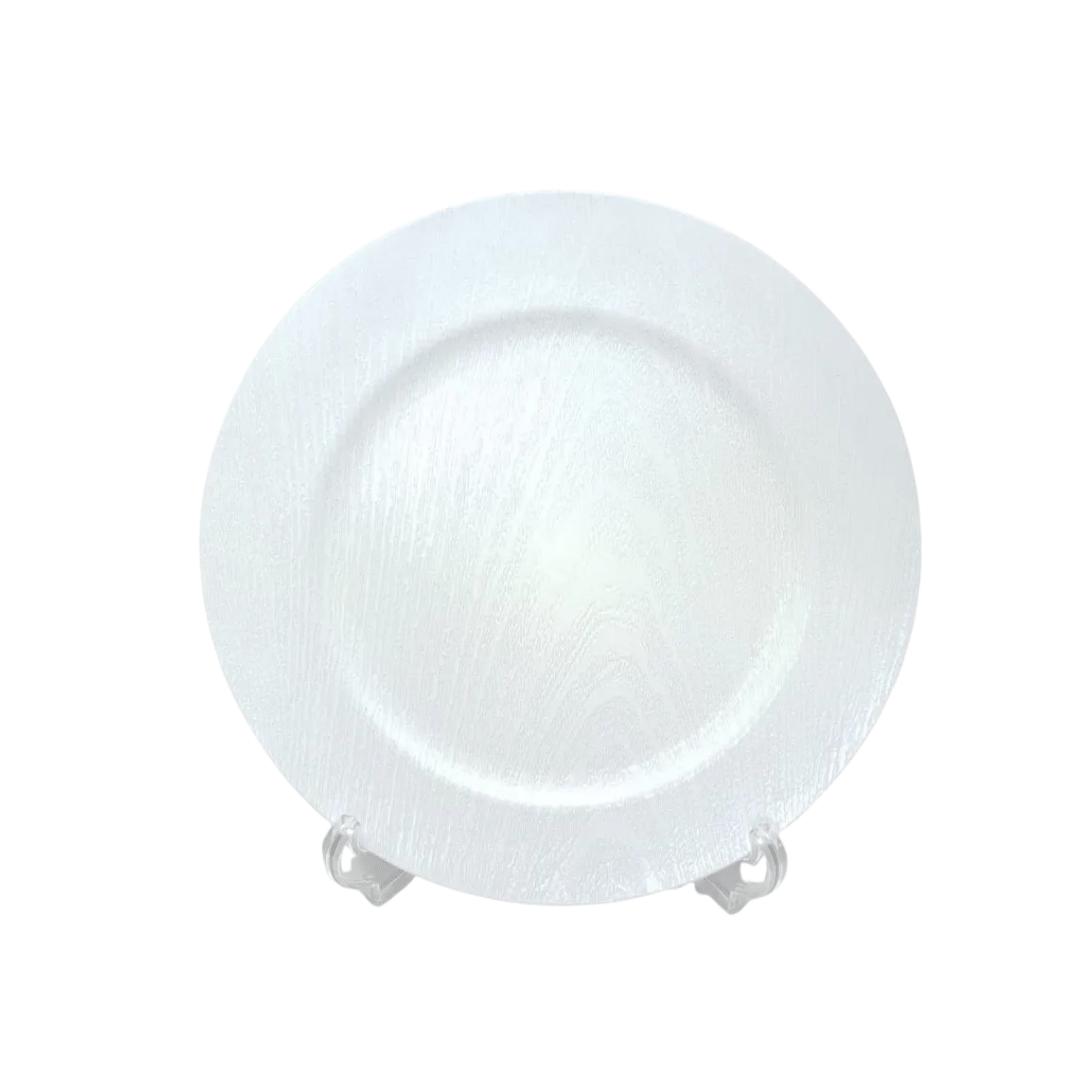 Sousplat Plástico 01 Peça Branco Metalizado