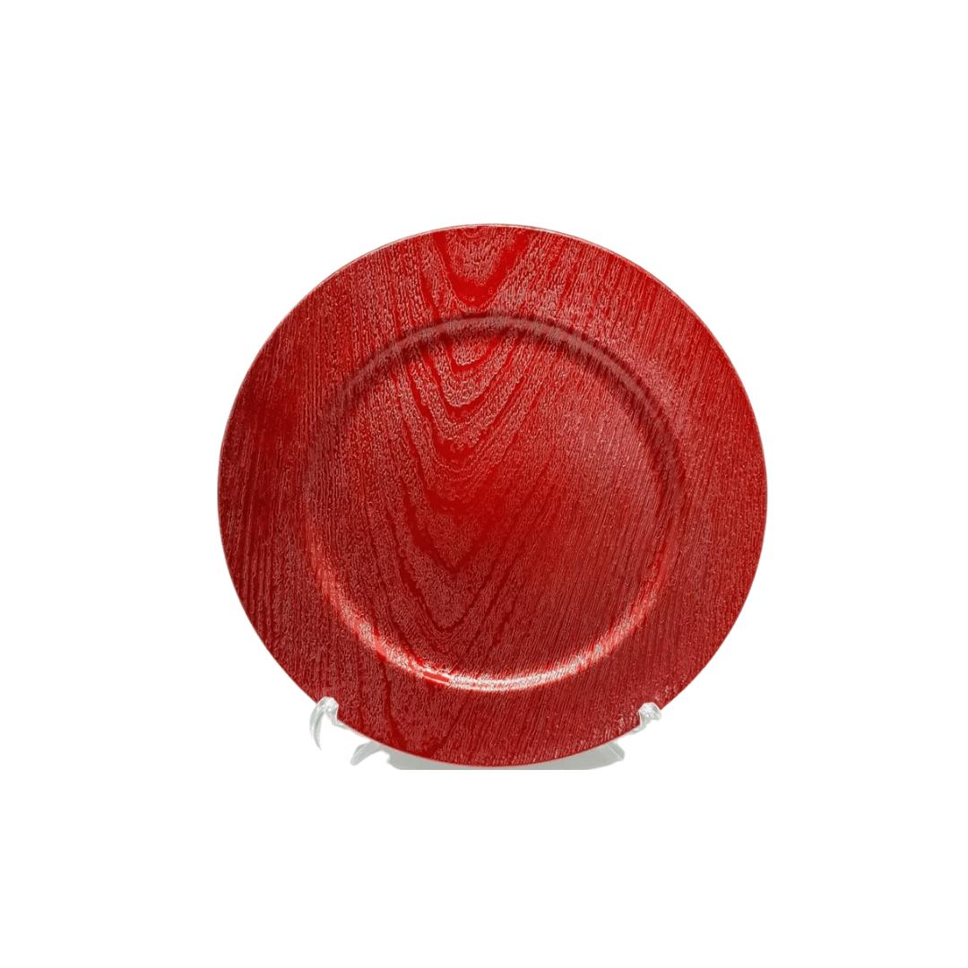 Sousplat Plástico 01 Peça Vermelho Metalizado