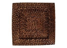 Sousplat Quadrado 01 Peça Rattan e Bambu Marrom Rústico Artesanal Mundiart
