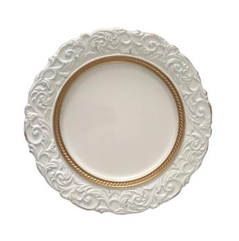 Sousplat Redondo 01 Peça Branco com Dourado 36 cm
