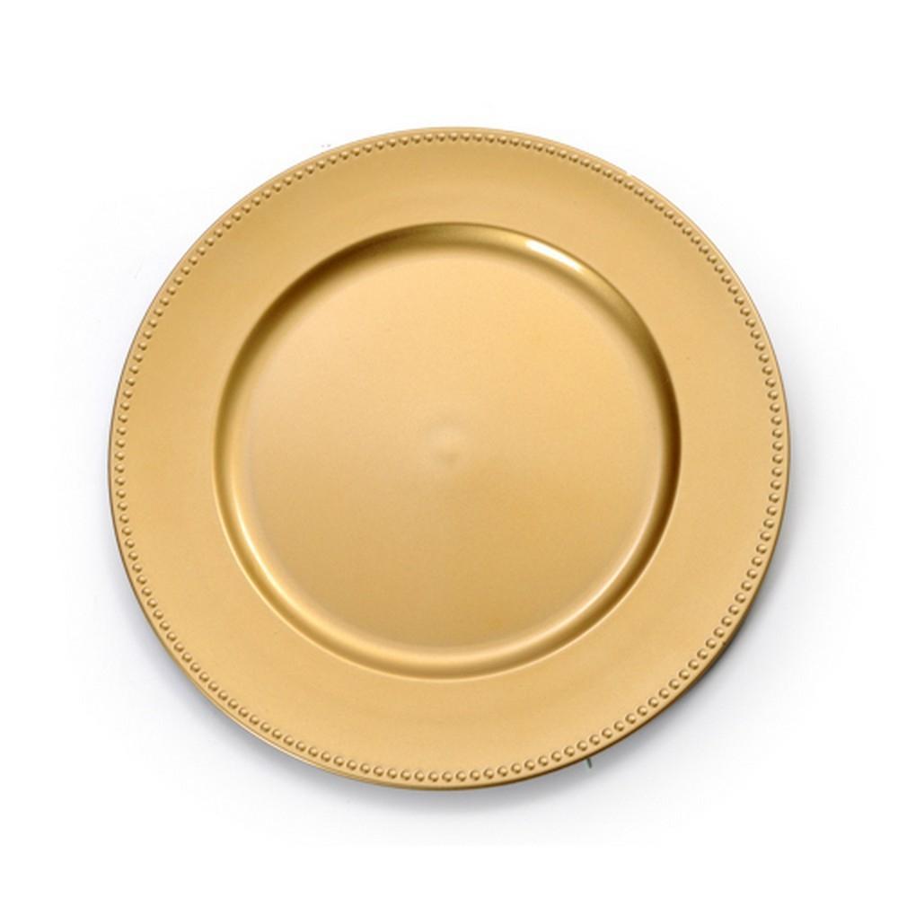 Sousplat Redondo 01 Peça Plástico Borda Bolinha Dourado
