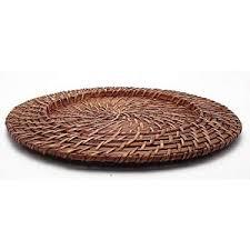 Sousplat Redondo 01 Peça Rattan e Bambu Marrom Rústico Artesanal Mundiart
