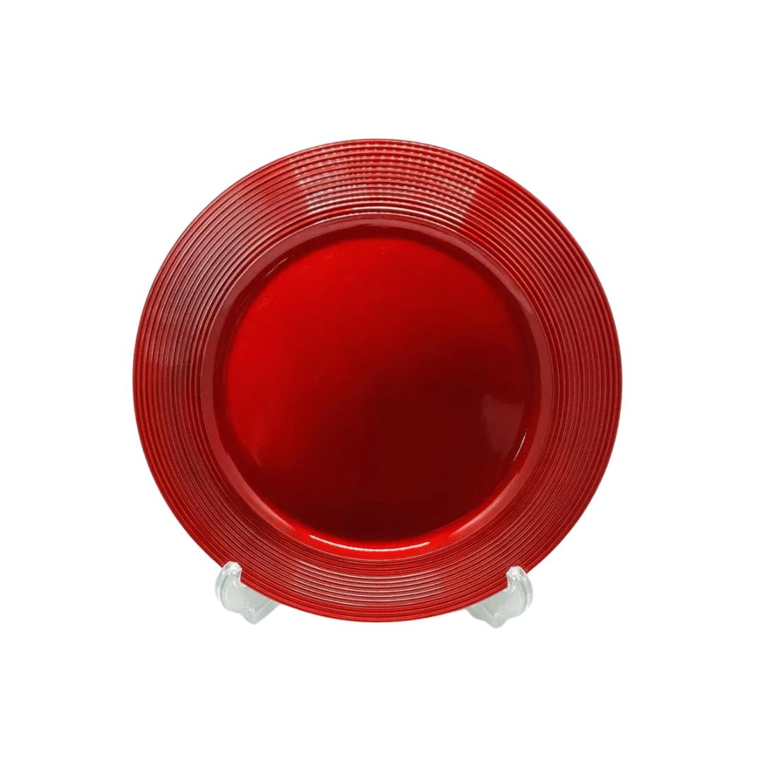 Sousplat Vermelho 01 Peça Metalizado com Bordas Listradas