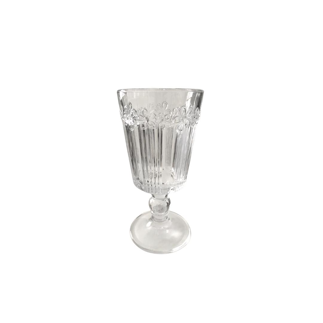 Taça para Água 01 Peça em Vidro  Flowers Transparente