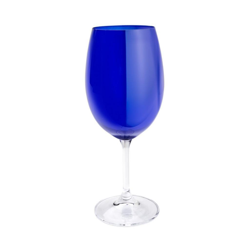 Taça para Água 01 Peça em Cristal Ecológico Azul Cobalto