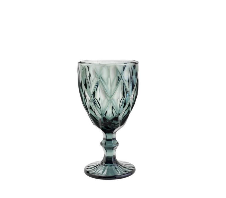 Taça para Água 01 Peça em Vidro  Diamond Cinza