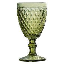 Taça para Água 01 Peça em Vidro Verde Bico de Abacaxi