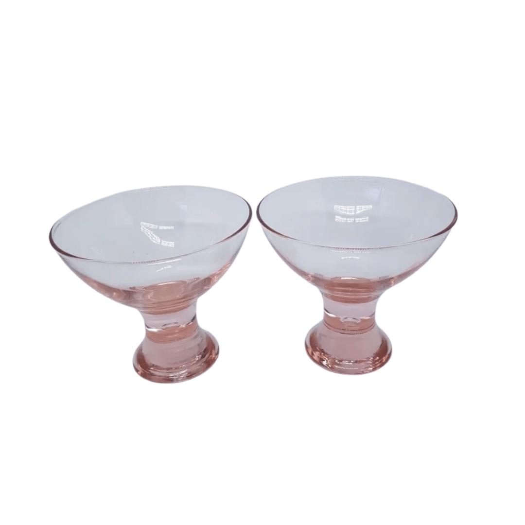 Taça para Sobremesa 01 Peça em Vidro Rosê