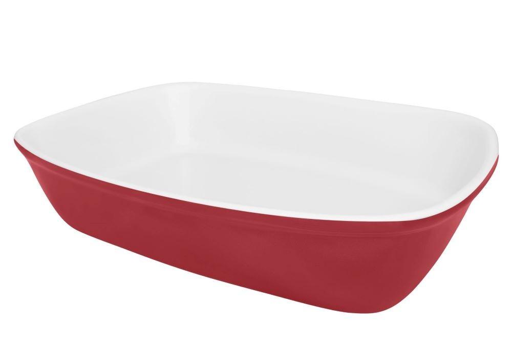 Travessa Refratária 01 Peça Bake Média Vermelho com Branco 26x18x5,6cm