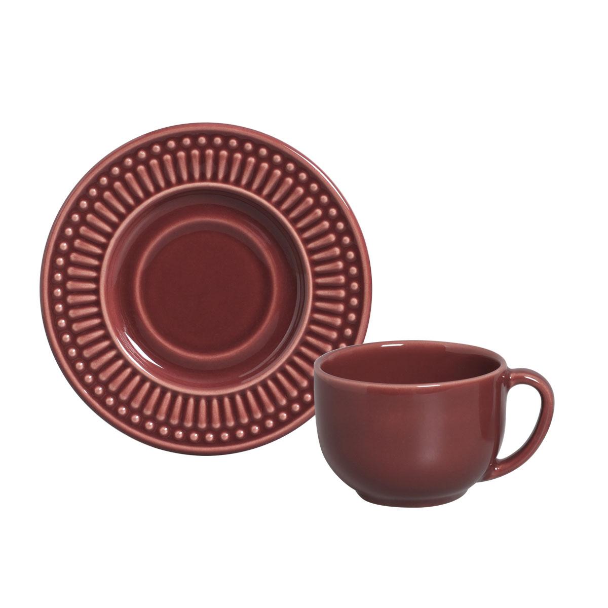 Xícara Chá com Pires 01 Peça Roma Cassis 161 ml Porto Brasil